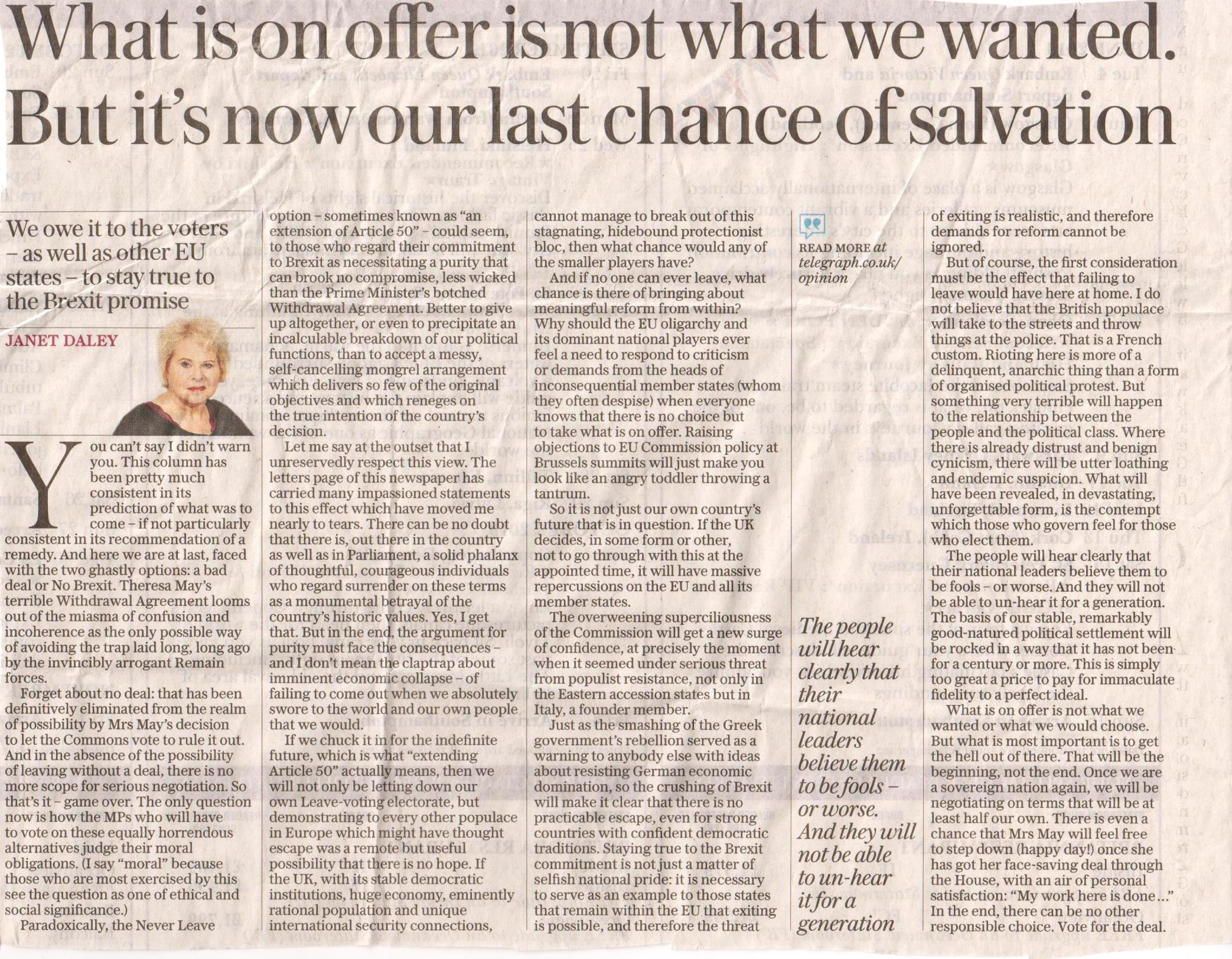 Janet Daly, Telegraph