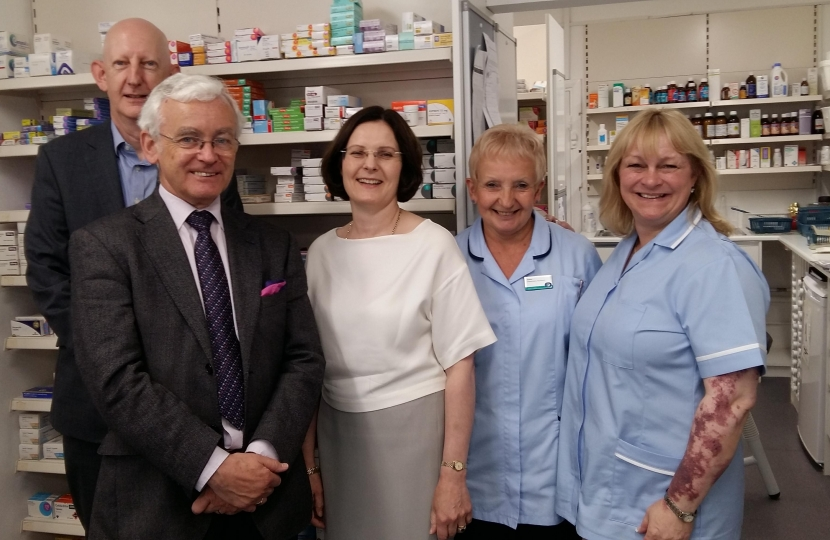 Martin with Ursula Lidbetter, Alastair and staff at a local pharmacy